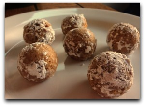 Spice Cake Bites Dusted in Powdered Sugar made in HIC's Cocktail Ice Ball Tray