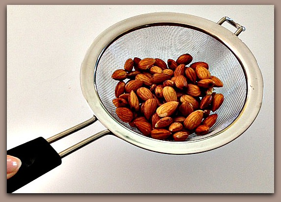 Almonds in HIC's Stainless Steel Mesh Strainer
