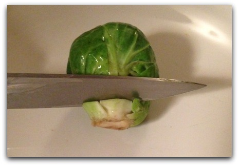 Cutting Brussels Sprout Stem