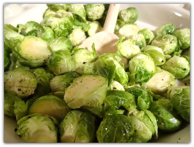 Brussels sprouts tossed with truffle oil and sea salt