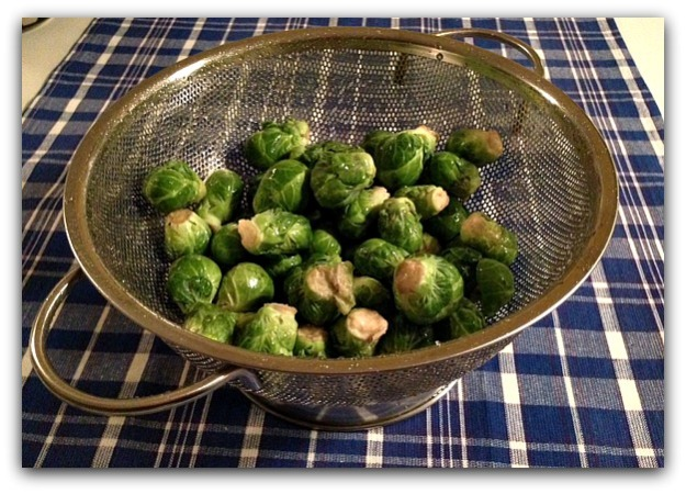 Brussels sprouts rinsed in collander