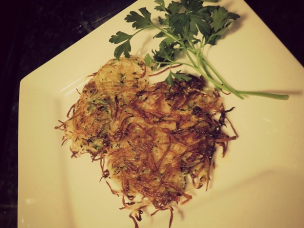 Zucchini and Potato Hash Browns Made with the Benriner Slicer