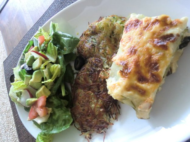 Zucchini and Potato Patties Served with Lasagna