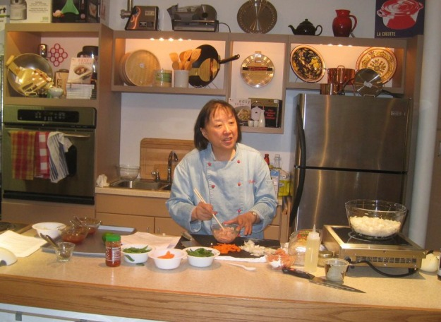 Helen Chen Teaching a Stir-Fry Cooking Class