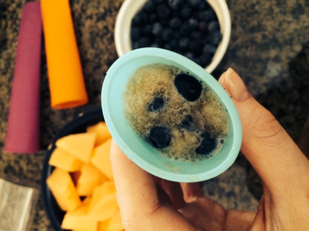 Ice Pop Mold Filled with Cantaloupe and Blueberry Mixture