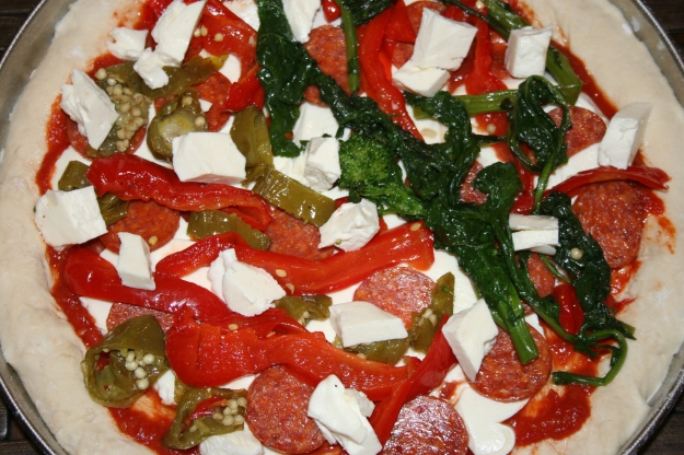 Uncooked Pizza with Antipasto Toppings